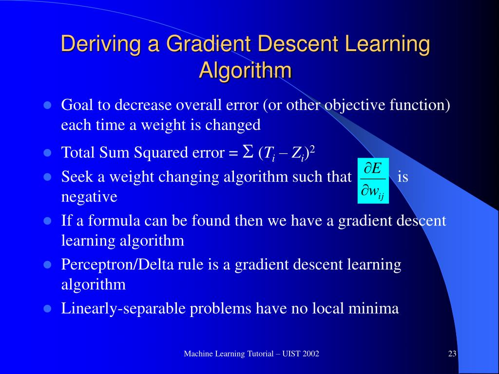 Deriving a Gradient Descent Learning Algorithm