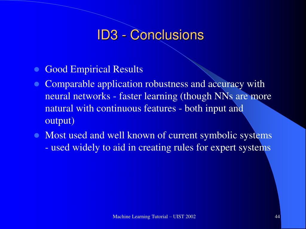 ID3 - Conclusions