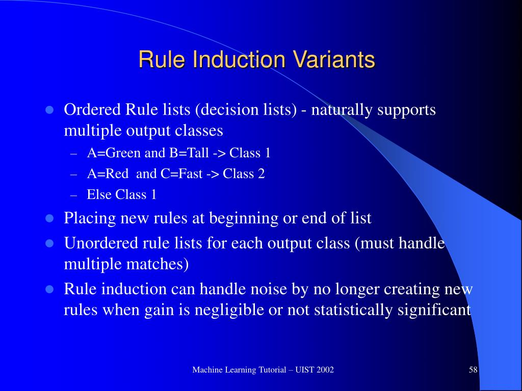 Rule Induction Variants