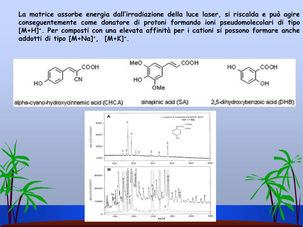 La matrice assorbe energia dall'irradiazione della luce laser, si riscalda e può agire conseguentemente come donatore di protoni formando ioni pseudomolecolari di tipo [M+H]