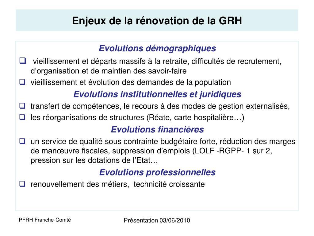 Enjeux de la rénovation de la GRH