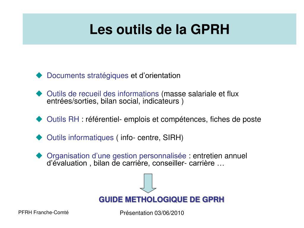 Les outils de la GPRH