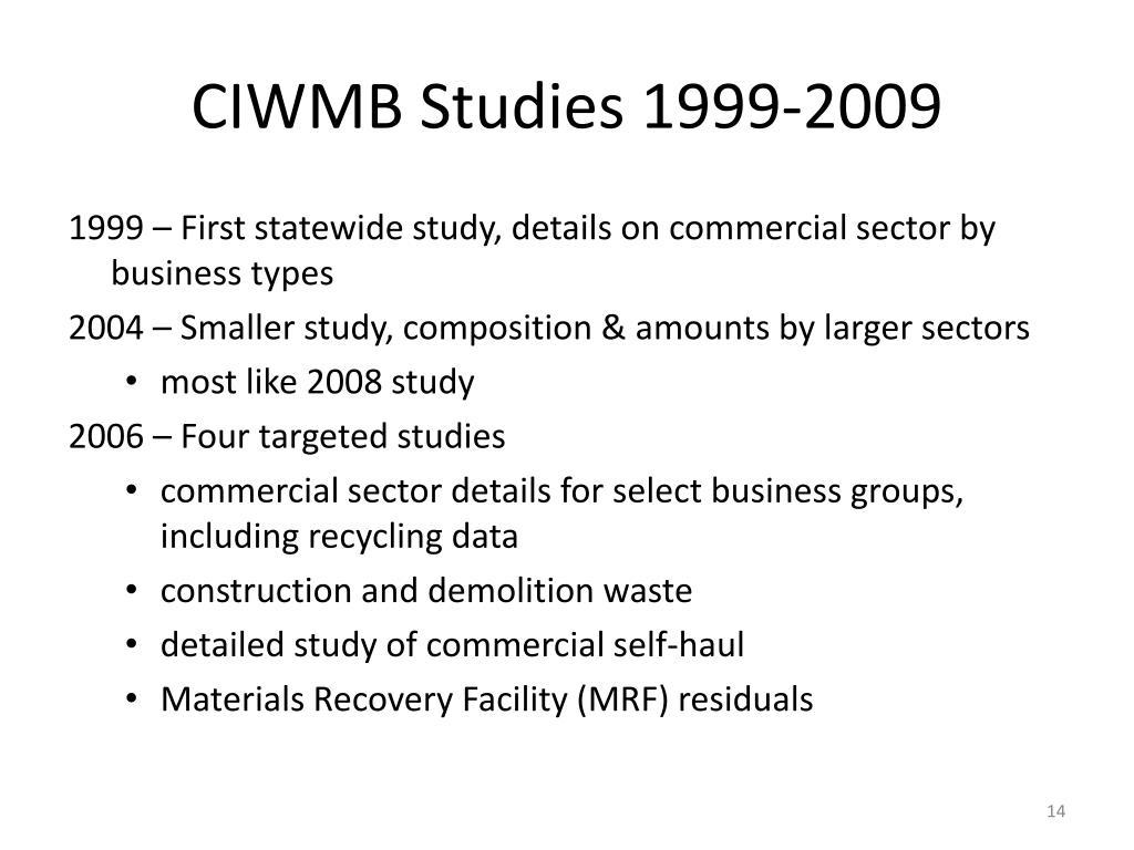 CIWMB Studies 1999-2009