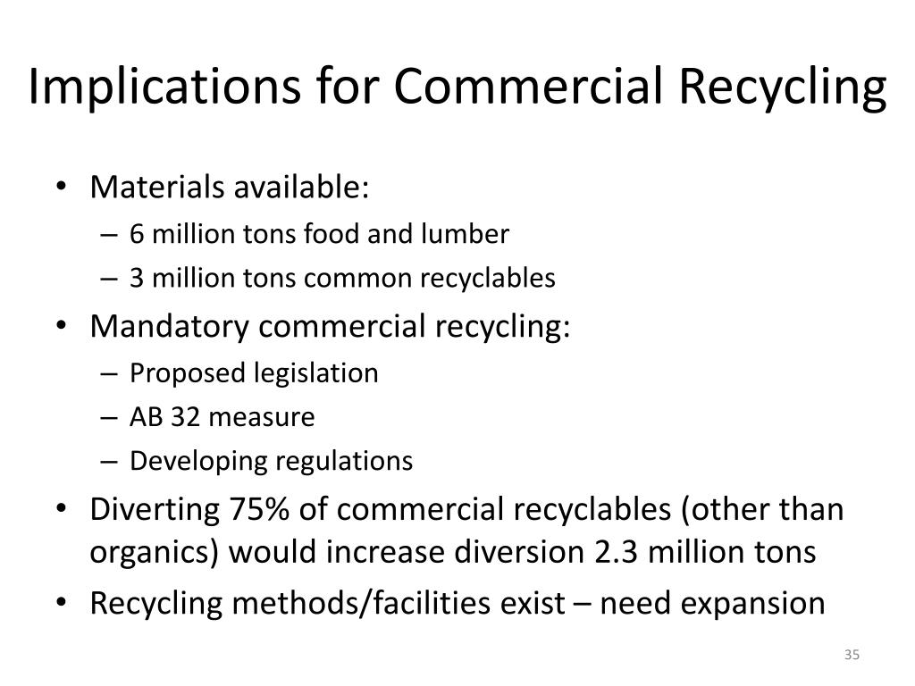 Implications for Commercial Recycling