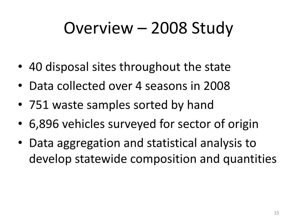 Overview – 2008 Study