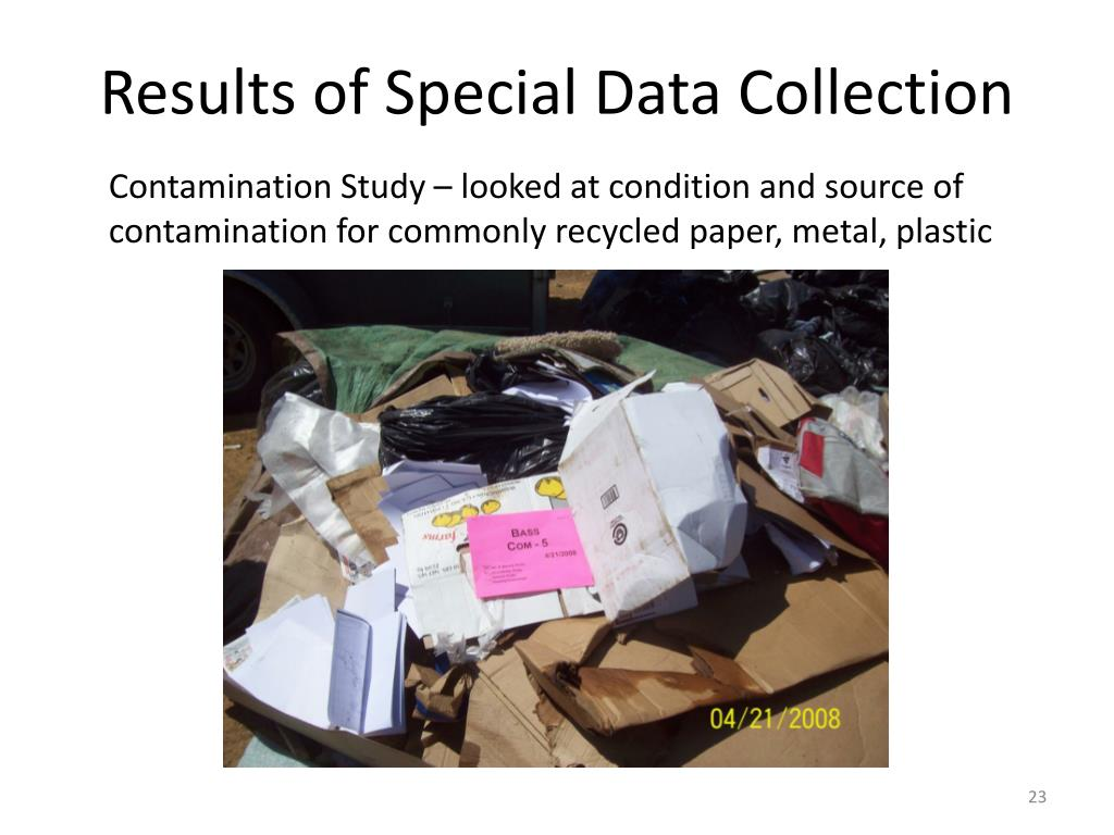 Results of Special Data Collection