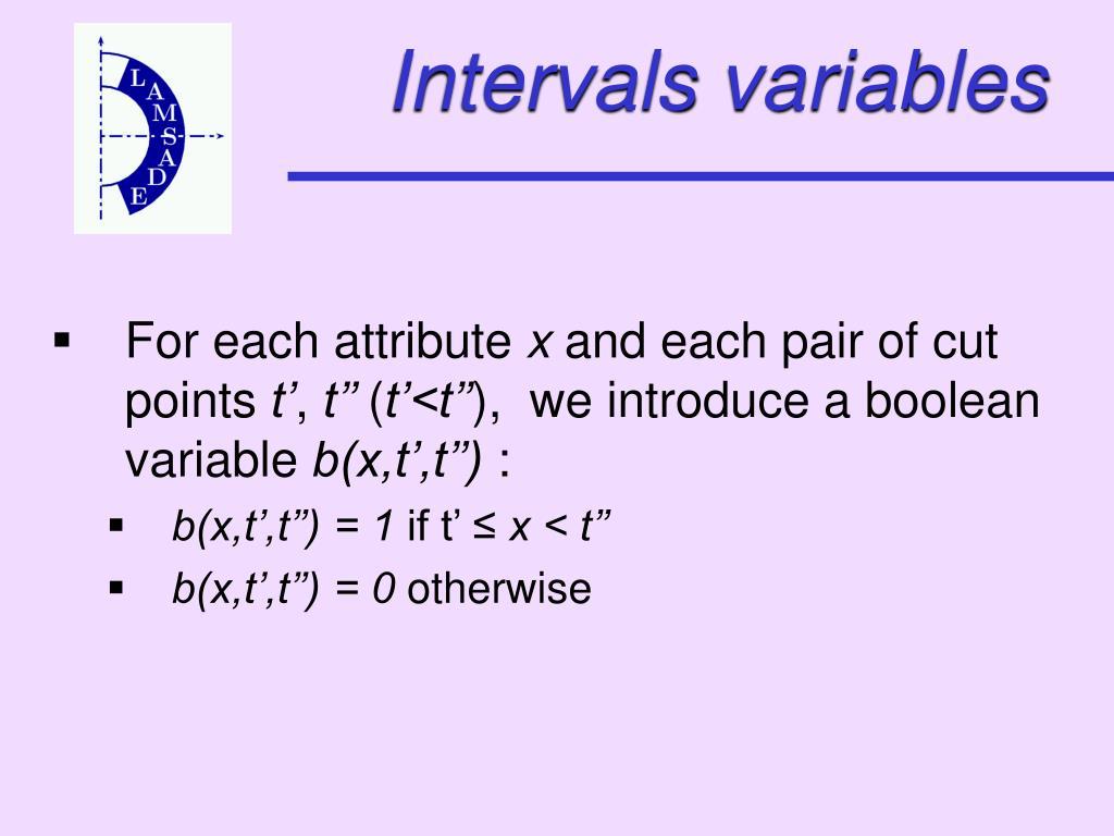 Intervals variables