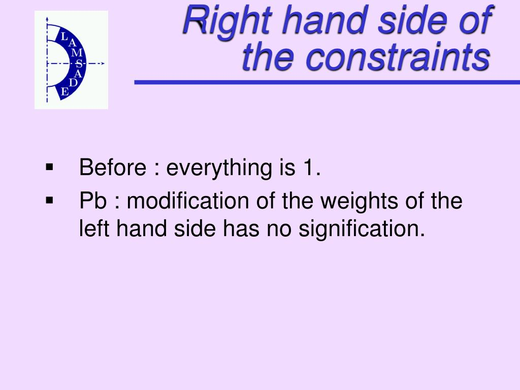 Right hand side of the constraints