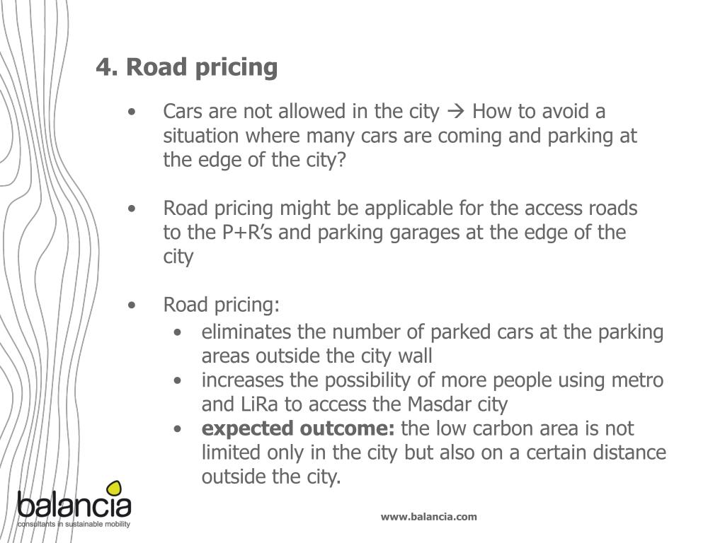 4. Road pricing
