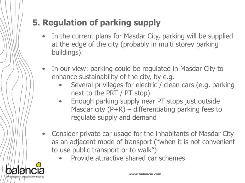 5. Regulation of parking supply
