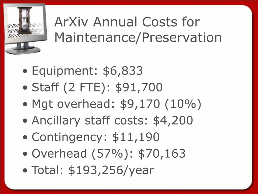 ArXiv Annual Costs for Maintenance/Preservation