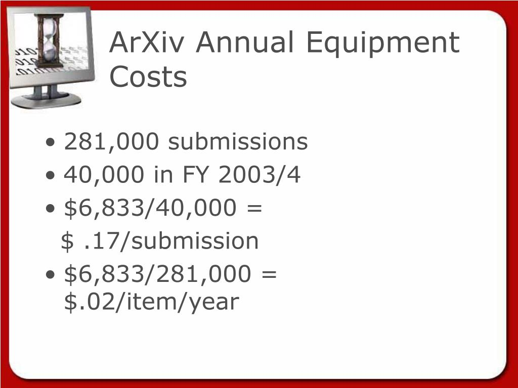 ArXiv Annual Equipment Costs