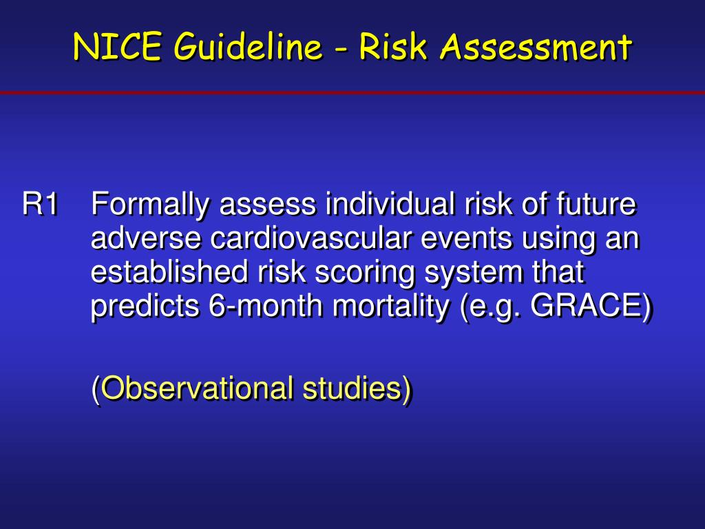 NICE Guideline - Risk Assessment