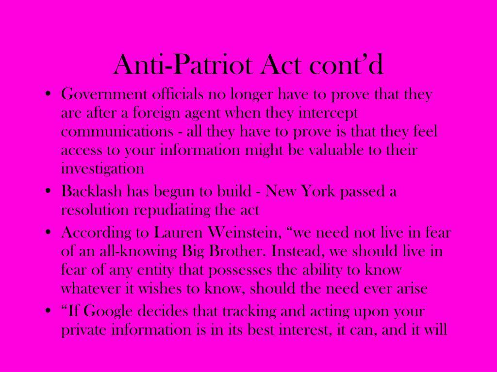 Anti-Patriot Act cont'd