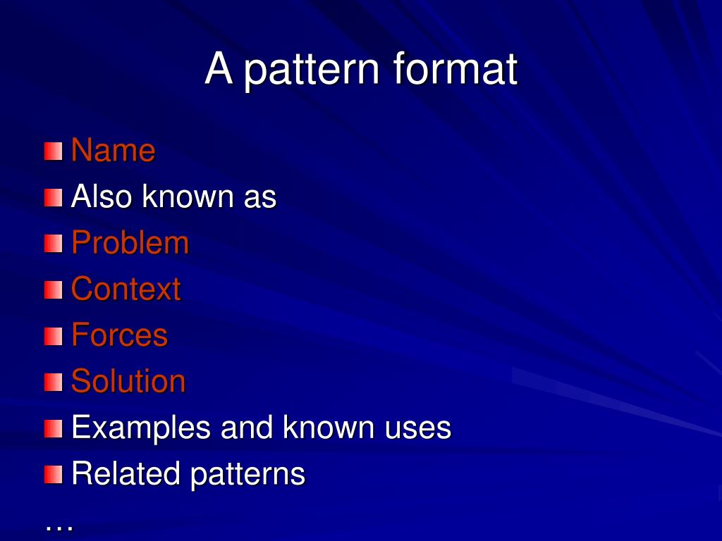 A pattern format