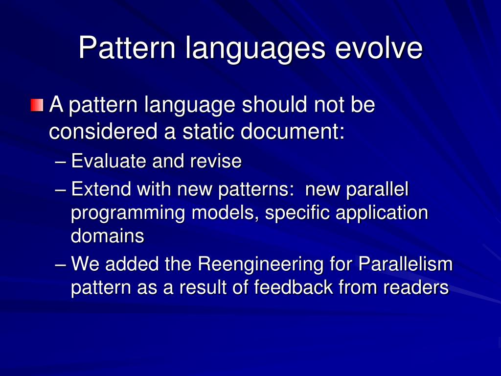 Pattern languages evolve