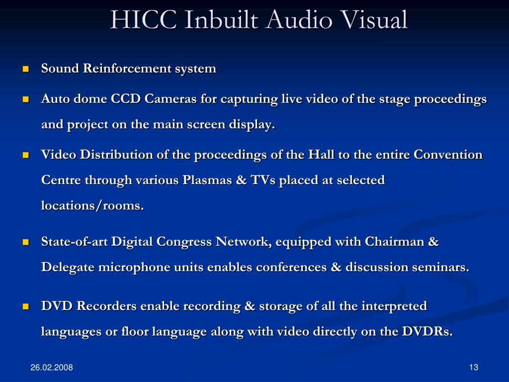 HICC Inbuilt Audio Visual