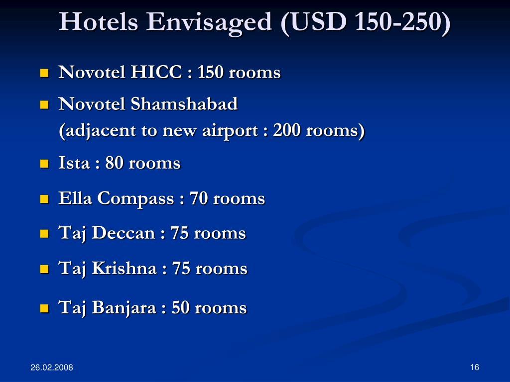 Hotels Envisaged (USD 150-250)