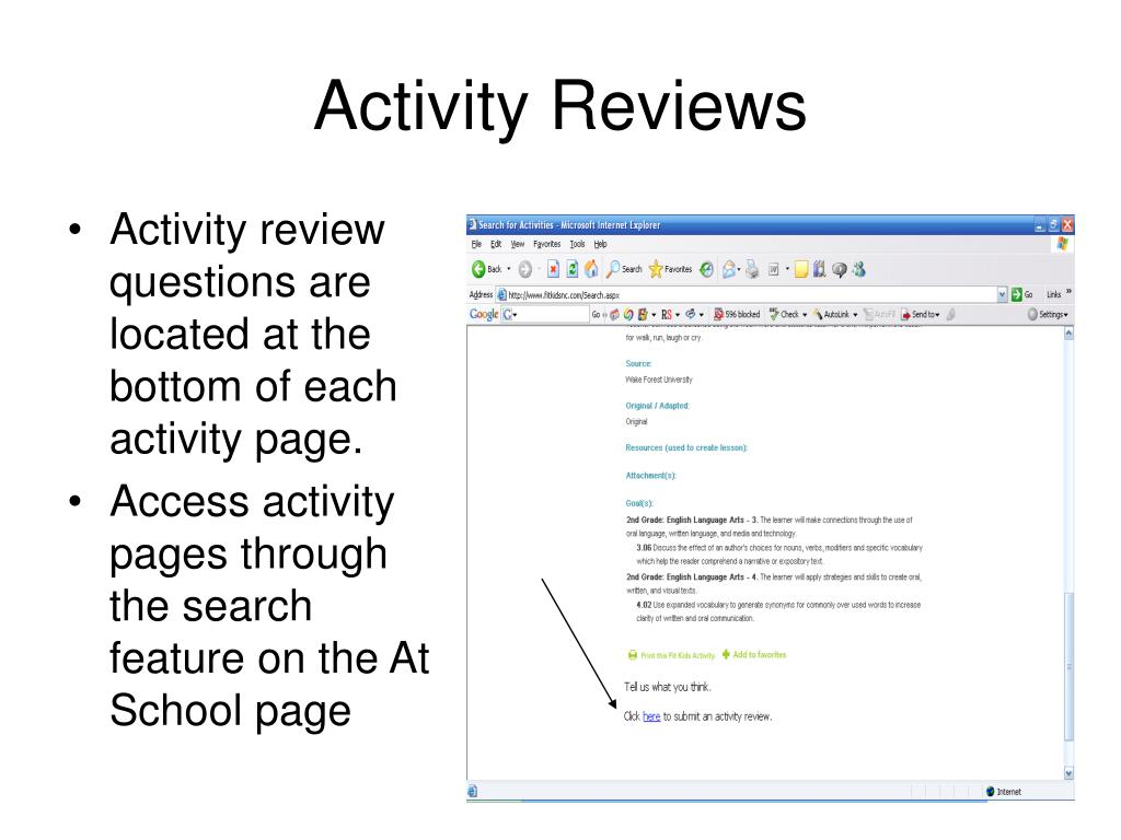 Activity Reviews