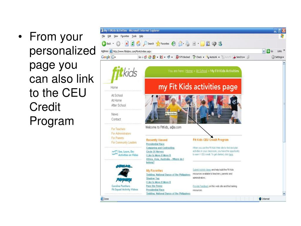 From your personalized page you can also link to the CEU Credit Program