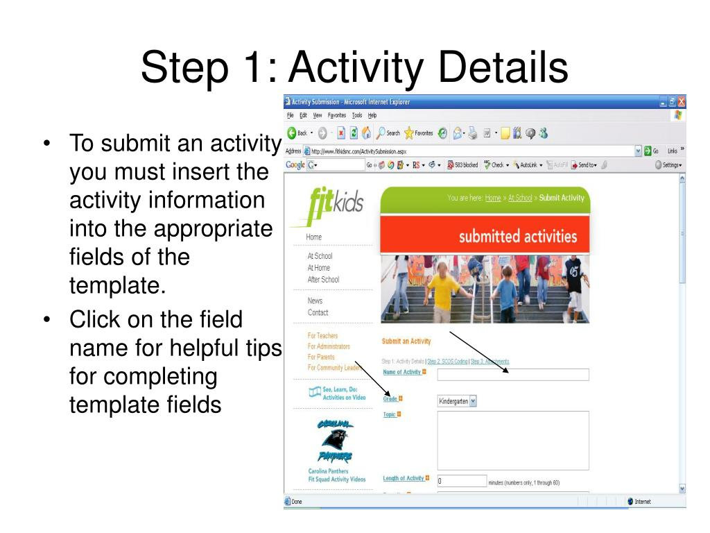 Step 1: Activity Details
