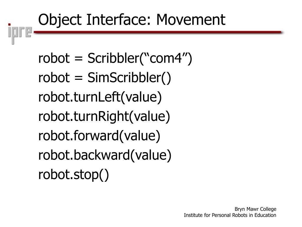 Object Interface: Movement