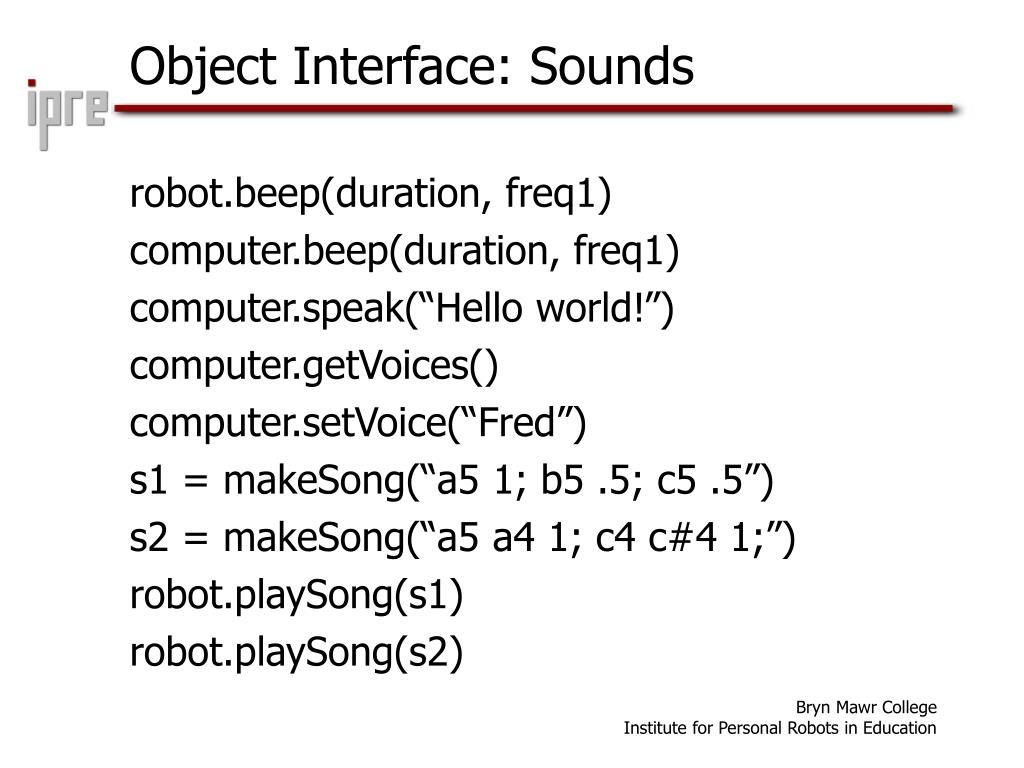 Object Interface: Sounds