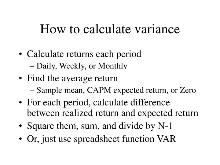 How to calculate variance