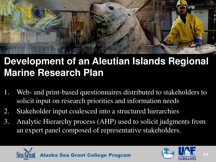 Development of an Aleutian Islands Regional Marine Research Plan