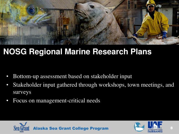 NOSG Regional Marine Research Plans
