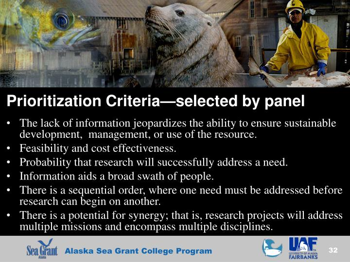 Prioritization Criteria—selected by panel