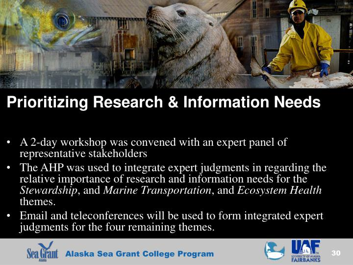 Prioritizing Research & Information Needs