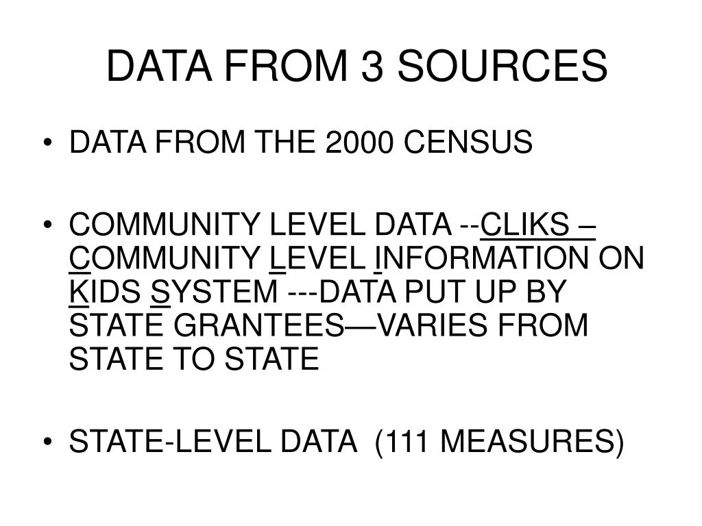 DATA FROM 3 SOURCES