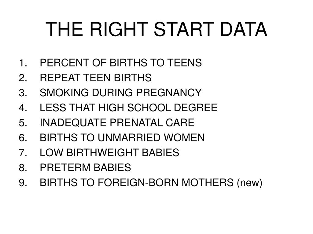 THE RIGHT START DATA