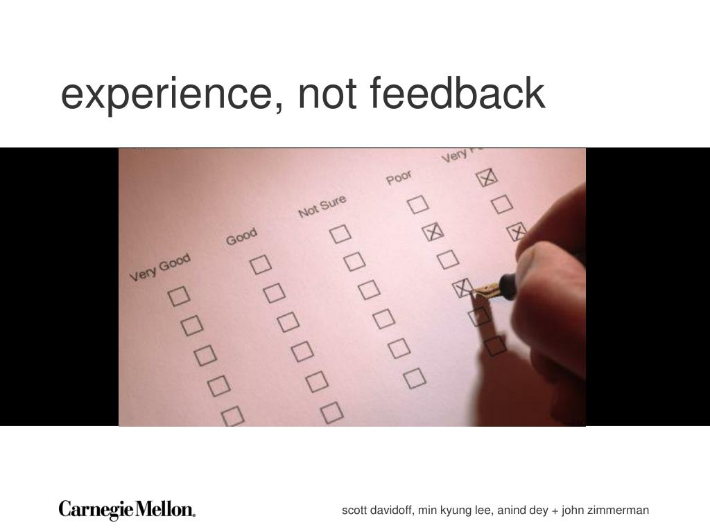 experience, not feedback