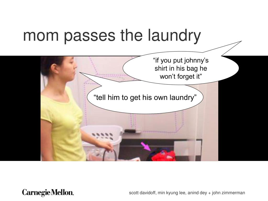 mom passes the laundry