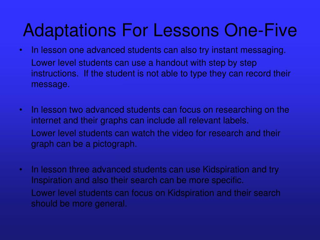 Adaptations For Lessons One-Five