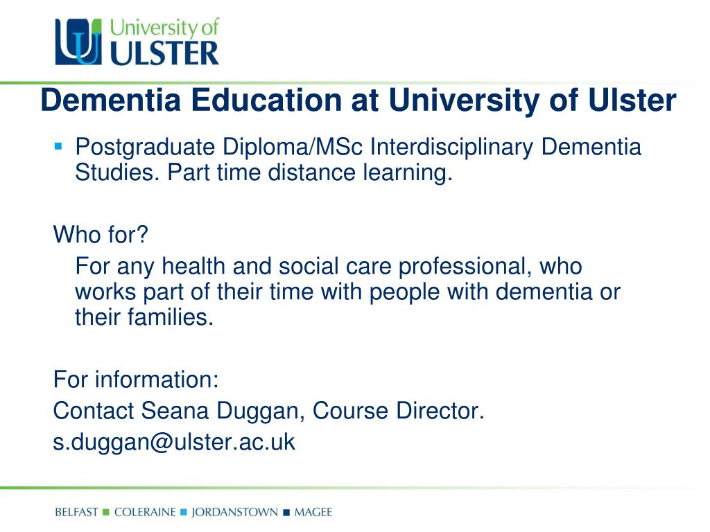 Dementia Education at University of Ulster
