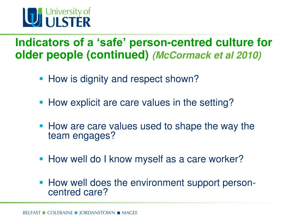 Indicators of a 'safe' person-centred culture for older people (continued)