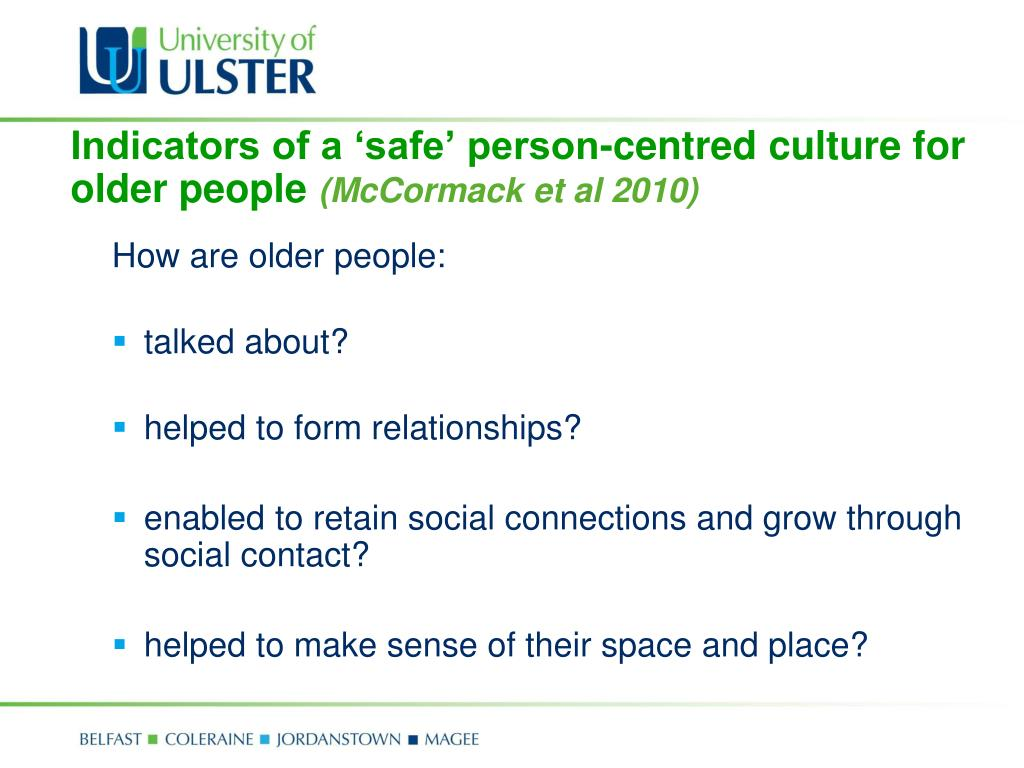 Indicators of a 'safe' person-centred culture for older people