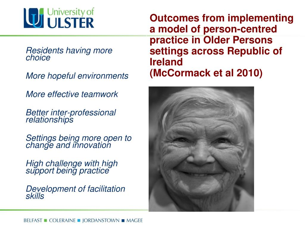 Outcomes from implementing a model of person-centred practice in Older Persons settings across Republic of Ireland