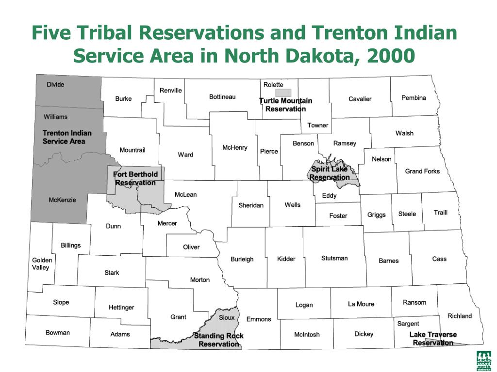 Five Tribal Reservations and Trenton Indian Service Area in North Dakota, 2000