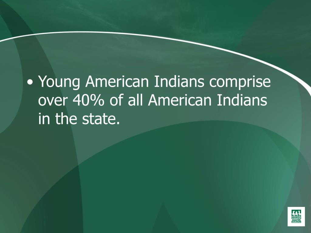 Young American Indians comprise over 40% of all American Indians in the state.