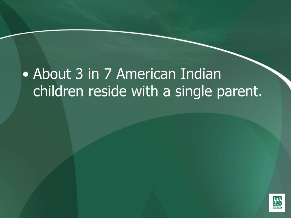 About 3 in 7 American Indian children reside with a single parent.