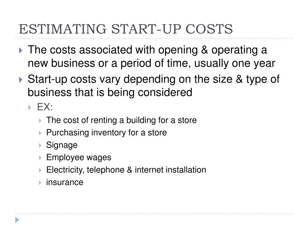 ESTIMATING START-UP COSTS