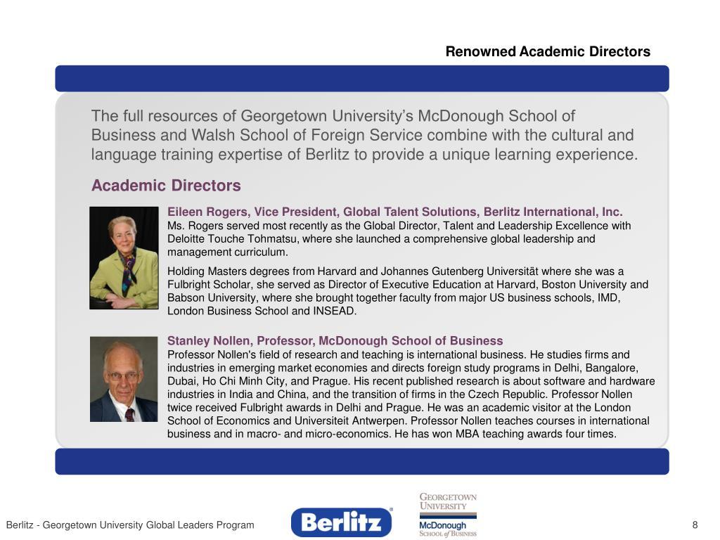 Renowned Academic Directors