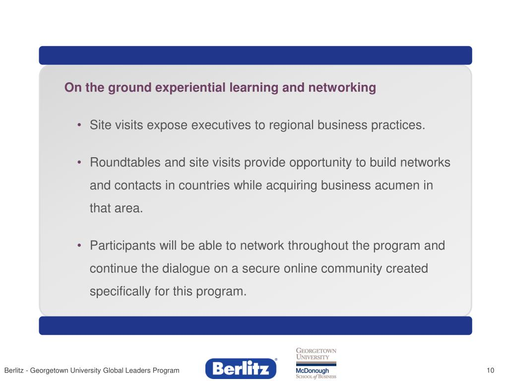 On the ground experiential learning and networking