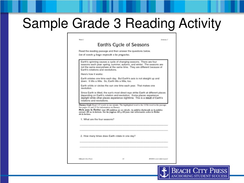 Sample Grade 3 Reading Activity