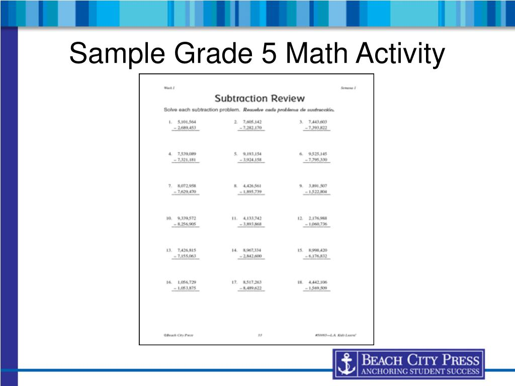 Sample Grade 5 Math Activity