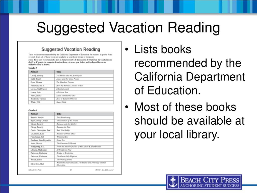 Lists books recommended by the California Department of Education.